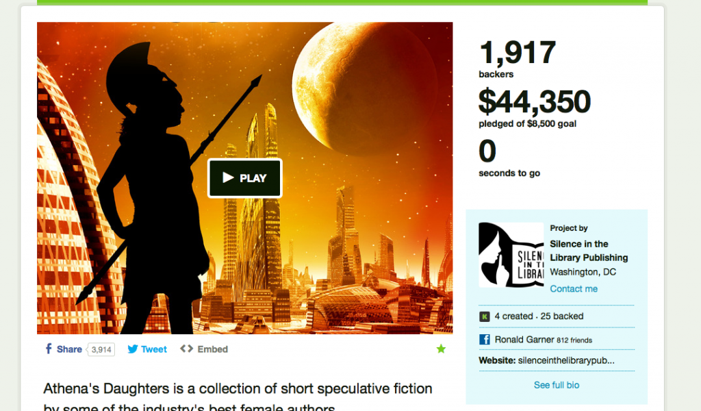 Screenshot of final kickstarter tally